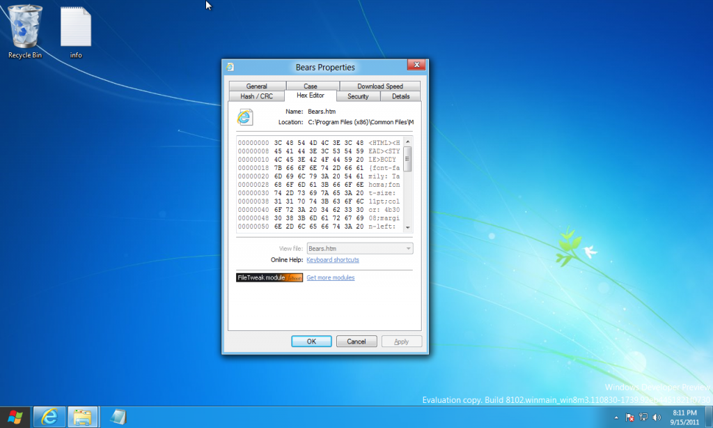 FileTweak Hex Editor on Windows 8 Developer Preview