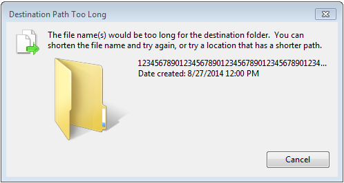 Different error, if using Windows 7 Ultimate - Destination Path Too Long
