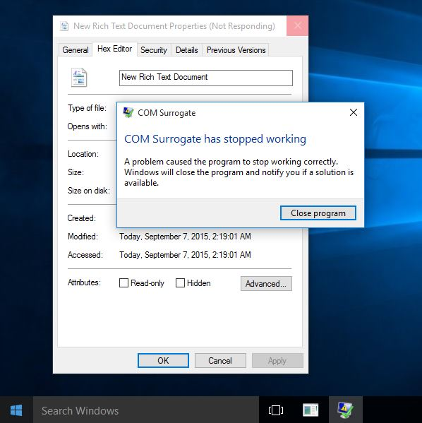 COM Surrogate has stopped working, Windows 10