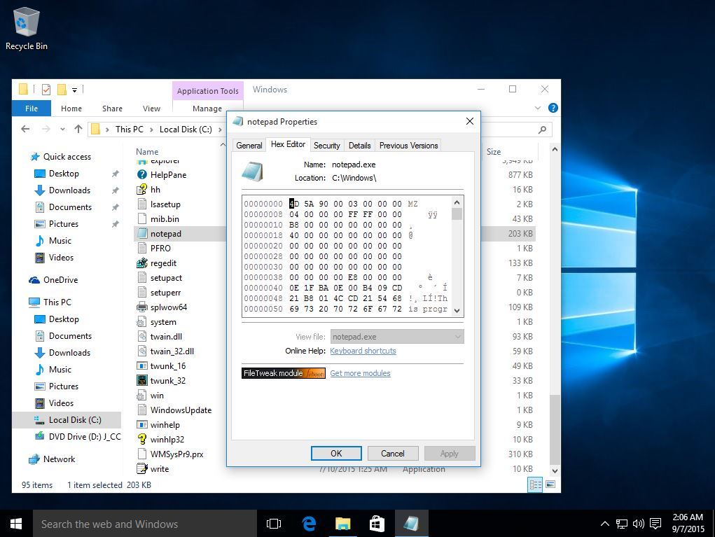 Hex Editor under Windows 10
