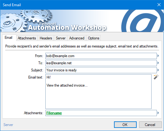 Screenshot: Automation Workshop Send Email Action