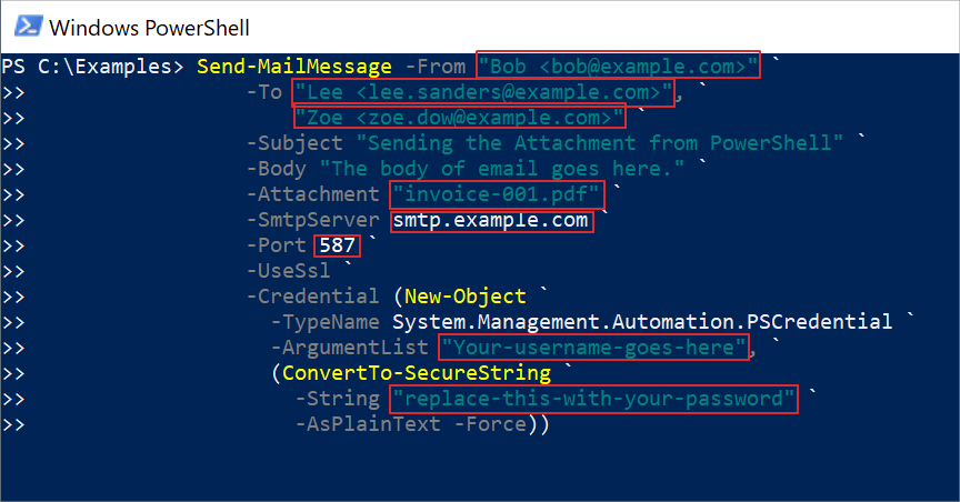 Screenshot: PowerShell email example