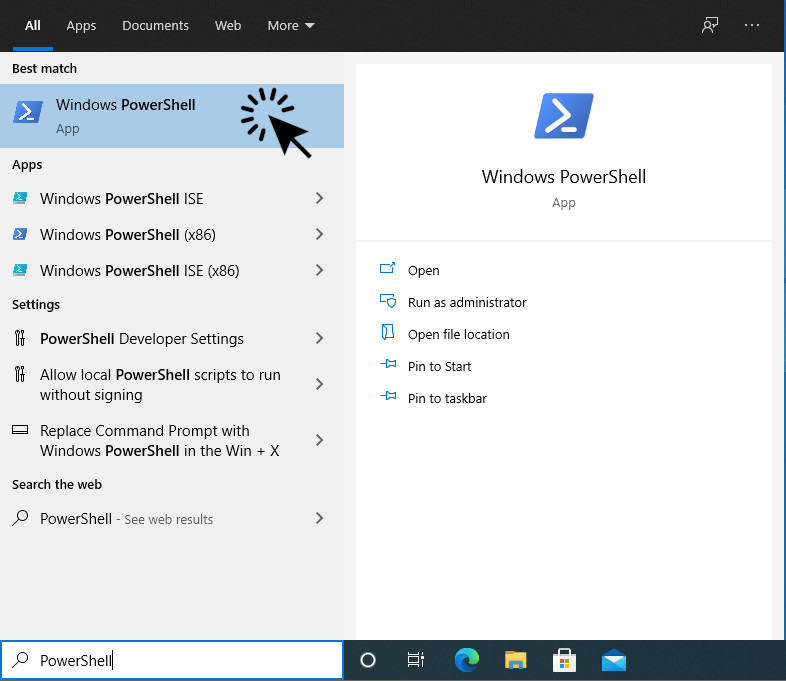Screenshot: Start PowerShell from Start Menu